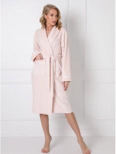 Длинный женский халат розового цвета с атласным декором