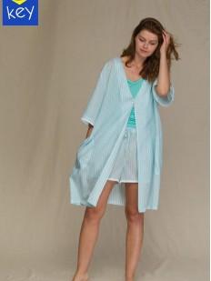 Бирюзовый летний женский халат из вискозы с карманами