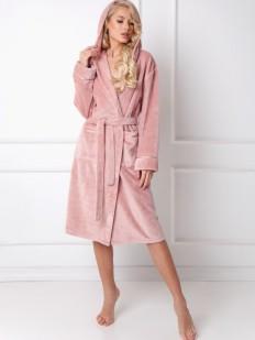 Уютный розовый махровый женский халат с капюшоном