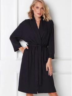 Классический черный женский халат с прорезными карманами