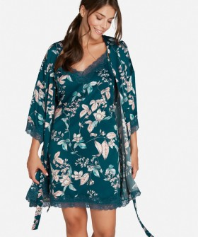 Цветочный женский халат оттенка морской волны