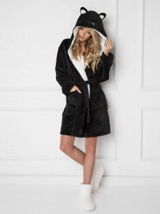 Уютный махровый женский халат черного цвета с ушками кошечки