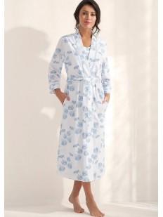 Женский длинный хлопковый халат с цветочным принтом Luna