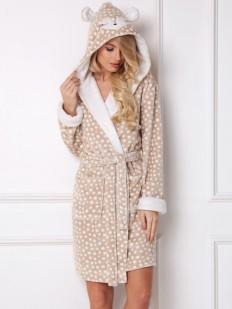 Мягкий женский халат с капюшоном и ушками олененка