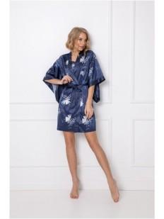 Атласный халат кимоно синего цвета с цветочным принтом