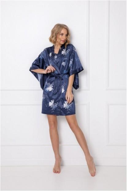 Атласный халат кимоно синего цвета Aruelle WHILEY - фото 1