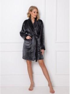 Теплый серый женский халат с сатиновым блеском