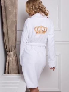 Теплый женский махровый халат с карманами