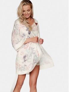 Летний женский халат из атласного материала с цветочным принтом