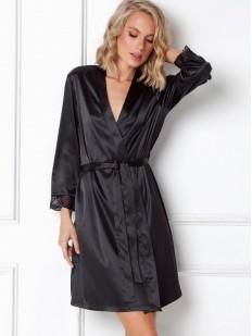 Женский летний халат из черного атласного материала