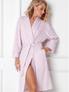 Классический розовый женский халат с прорезными карманами