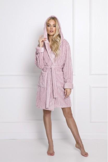 Мягкий розовый женский халат с капюшоном Aruelle PALOMA - фото 1