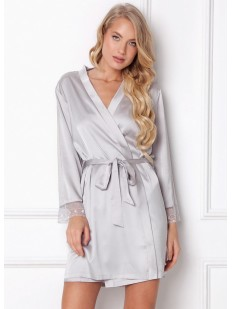 Последний товар!!! Атласный серебристый женский халат на запахе