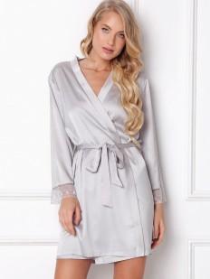 Атласный серебристый женский халат на запахе