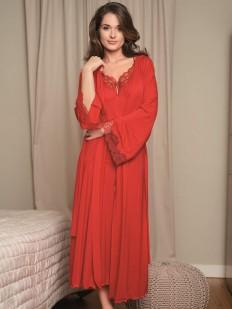 Домашний женский длинный халат кимоно с кружевным рукавом