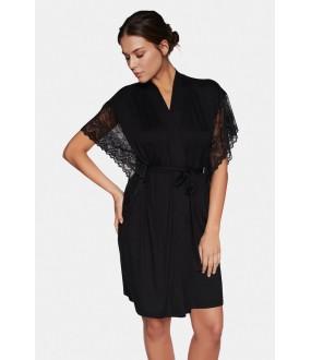 Черный женский халат из вискозы с коротким кружевным рукавом