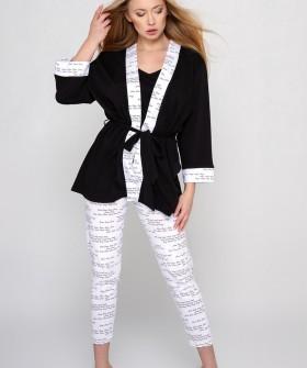Укороченный женский халат кимоно черного цвета с белыми элементами
