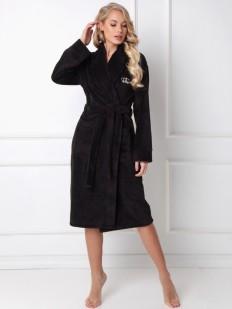 Удлиненный черный женский халат с карманами