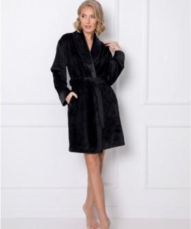 Роскошный махровый женский халат черного цвета