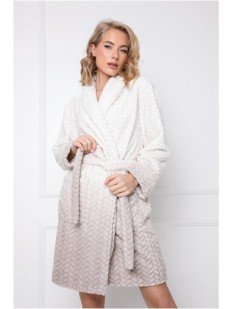 Жаккардовый теплый женский халат с узором омбре