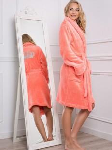Женский пушистый махровый халат с карманами