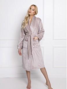 Теплый длинный женский халат в оттенке латте