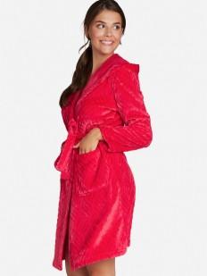 Уютный плюшевый женский халат с капюшоном и карманами