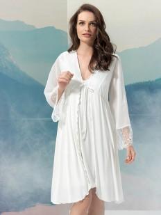 Белый свадебный пеньюар из вискозы с кружевным рукавом