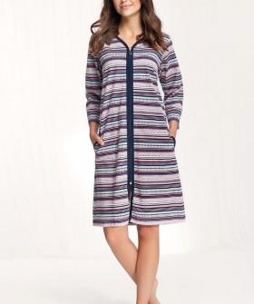 Хлопковый женский халат свободного кроя на молнии