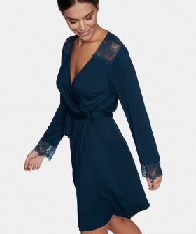Синий женский халат из мягкой вискозы с длинным рукавом
