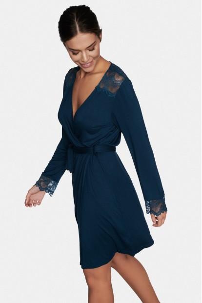Синий женский халат из вискозы с длинным рукавом Esotiq 38992 EVIE - фото 1