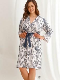 Хлопковый женский халат большого размера с растительным принтом
