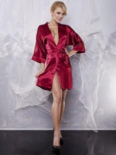 Атласное женское домашнее кимоно короткое
