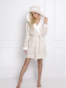 Теплый женский халат с ушками и глазками совы на капюшоне