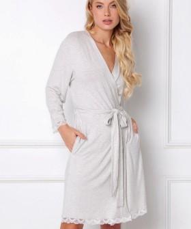 Серый женский халат из легкой вискозы с прорезными карманами