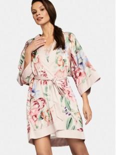 Кремовый атласный халат с цветочным принтом