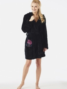 Махровый женский халат флисовый с капюшоном