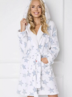 Теплый женский махровый халат с капюшоном и звездами