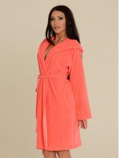 Теплый домашний женский халат с капюшоном