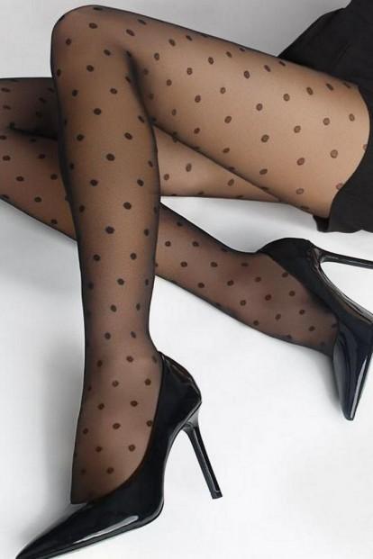 Летние черные колготки в горошек 20 den Marilyn FLORES DOTS 02 - фото 1