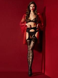 Сексуальные открытые колготки 30 ден с поясом и имитацией узорных чулок