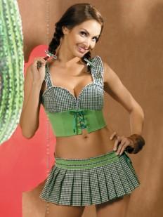 Эротический костюм мексиканки с клетчатой юбочкой, топом и стрингами