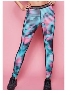 Спортивные женские легинсы для фитнеса с цветным принтом в полоску