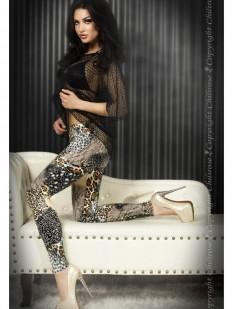 Фантазийные женские леггинсы с цветным принтом ягуар