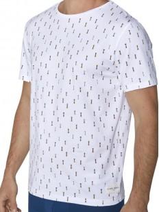Белая мужская футболка из хлопка с морским принтом