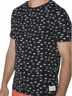 Черная мужская футболка из хлопка с абстрактным принтом