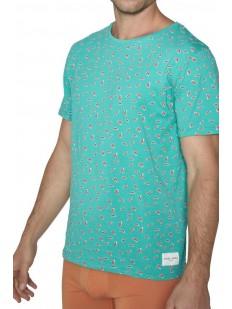 Бирюзовая мужская футболка из хлопка с принтом перчиков чили