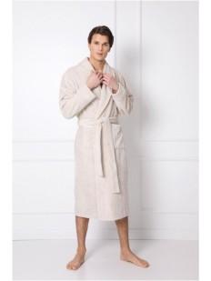 Длинный мужской жаккардовый халат бежевого цвета