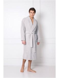 Длинный мужской жаккардовый халат серого цвета