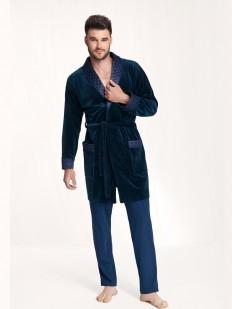 Хлопковый мужской халат с воротником и карманами
